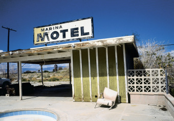 Marina Motel, Sign, Salton Sea, California,  archival ink jet print on Arches watercolour paper (22x30 inches), 1998