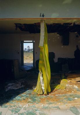 Marina Motel, Spiral Curtain, Salton Sea, California, archival ink jet print on Arches watercolour paper (30x22 inches), 1998