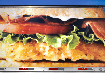 Burger, Wilshire Boulevard, Los Angeles, California, ink jet print on matte paper (12x16 inches), detail from Food Grid (70x220 inches), 2006