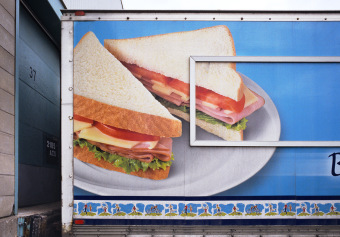 Weston Bread, 46th Avenue, Dorval, Québec, ink jet print on matte paper (12x16 inches), detail from Food Grid (70x220 inches), 2007