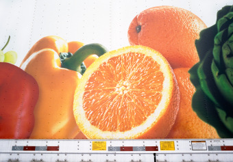 Shaw's Fruits, Highway 495, Massachusetts, ink jet print on matte paper (12x16 inches), detail from Food Grid (70x220 inches), 2006
