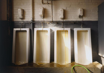 Urinals, from the Zone series, Montréal, archival ink jet print on Arches paper (26x41 inches), 1997