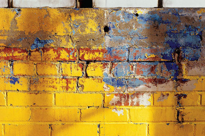 Yellow Brick with blue paint, archival ink jet print on Arches paper (26x41 inches), 1997