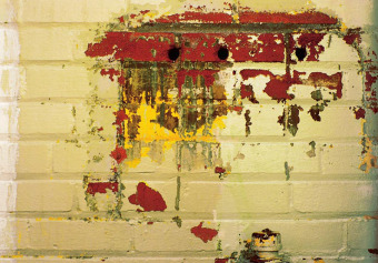 Cream green brick with red-yellow splotch, from the Zone series, Montréal, archival ink jet print on Arches paper (26x41 inches), 1997