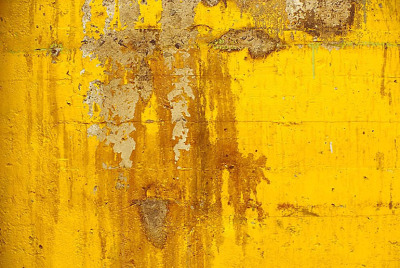 Yellow cement with reddish splotch, from the Zone series, Montréal, archival ink jet print on Arches paper (26x41 inches), 1997