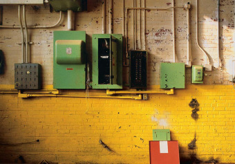 Electric boxes before,  from the Zone series, Montréal, archival ink jet print on Arches paper (22x30 inches), 1997